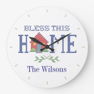 Bless This Home Cross Stitch Embroidery Large Clock