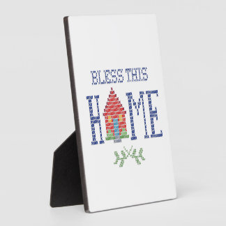 Bless This Home Cross Stitch Embroidery Plaque