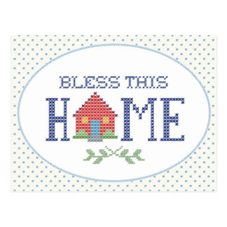 Bless This Home Cross Stitch Embroidery Postcard