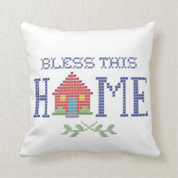 Bless This Home Cross Stitch Embroidery Throw Pillow