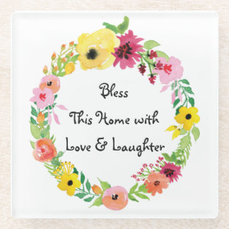 Bless this Home Floral Wreath Glass Coaster