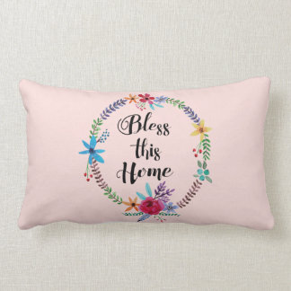 """""""Bless this Home"""" Quote Watercolor Floral Pillow"""