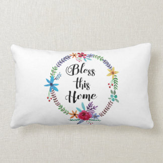 """""""Bless this Home"""" Quote Watercolor Floral Throw Pillow"""