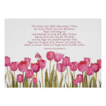 """""""bless this house"""" in German, tulips and butterfly Poster"""