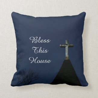 Bless This House Square Pillow Glowing Cross