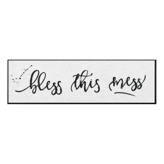 Bless this Mess distressed black & white Panel Wall Art