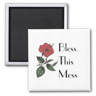 Bless This Mess - Positive Floral Kitchen Magnet