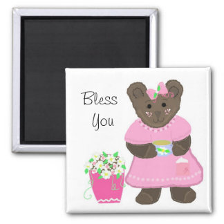 Bless You - Little Teddybear in Pink 2 Inch Square Magnet