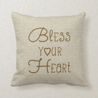 Bless Your Heart burlap-look custom name Throw Pillow
