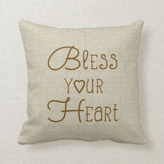 Bless Your Heart burlap-look custom name Throw Pillow