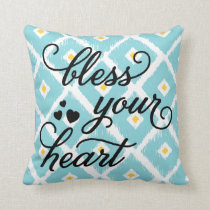 Bless Your Heart | Ikat Diamond Pattern Pillow