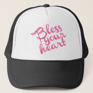 Bless Your Heart Pink Sparkle Trucker Hat