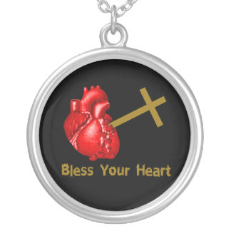 Bless Your Heart Round Pendant Necklace