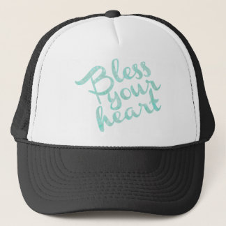 Bless Your Heart Turquoise Sparkle Trucker Hat