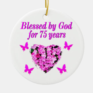 BLESSED 75TH BIRTHDAY FLORAL DESIGN CERAMIC ORNAMENT