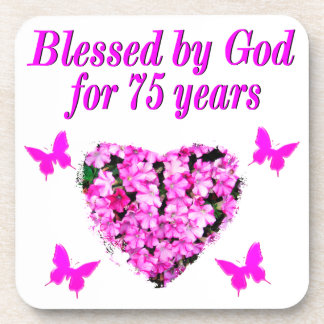 BLESSED 75TH BIRTHDAY FLORAL DESIGN DRINK COASTER