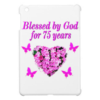 BLESSED 75TH BIRTHDAY FLORAL DESIGN iPad MINI COVER