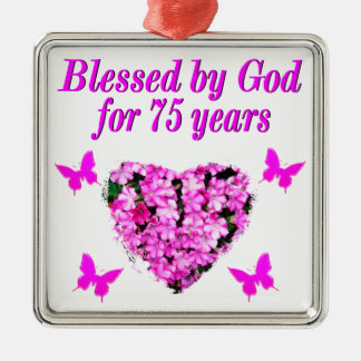 BLESSED 75TH BIRTHDAY FLORAL DESIGN METAL ORNAMENT