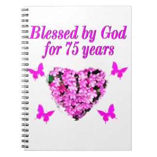 BLESSED 75TH BIRTHDAY FLORAL DESIGN NOTEBOOK