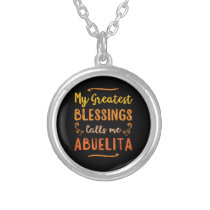 Blessed Abuela Puerto Rico Grandma Mothers Day Silver Plated Necklace