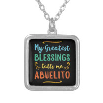 Blessed Abuelo Puerto Rico Grandpa Fathers Day Silver Plated Necklace