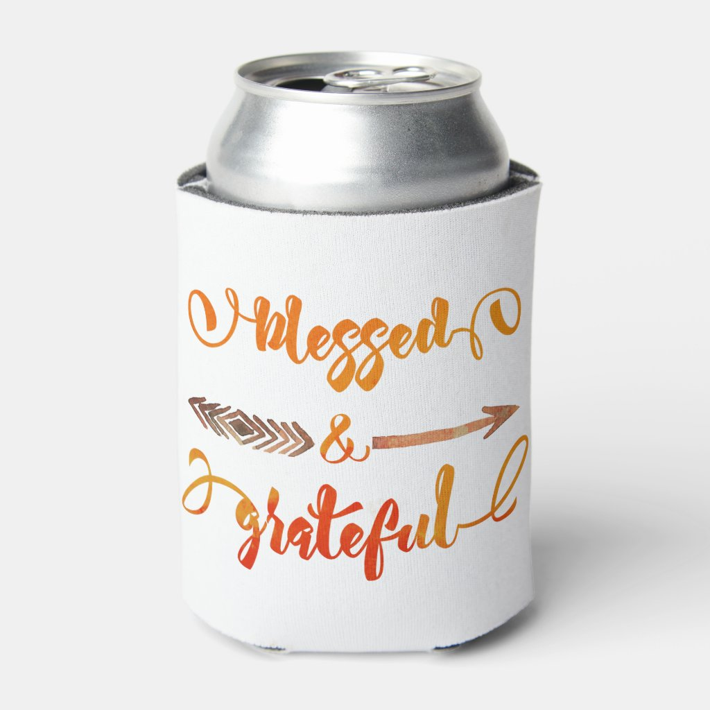 blessed and grateful thanksgiving can cooler