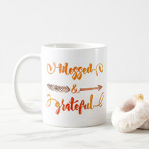 blessed and grateful thanksgiving coffee mug