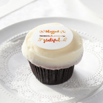 blessed and grateful thanksgiving edible frosting rounds