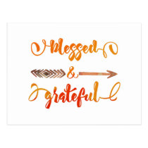 blessed and grateful thanksgiving postcard