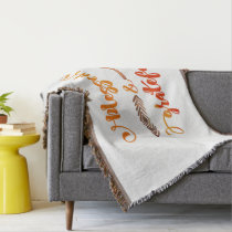 blessed and grateful thanksgiving throw blanket
