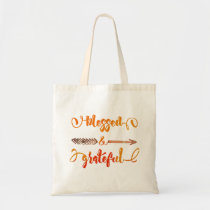 blessed and grateful thanksgiving tote bag