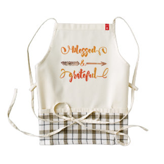 blessed and grateful thanksgiving zazzle HEART apron
