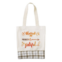 blessed and grateful thanksgiving zazzle HEART tote bag