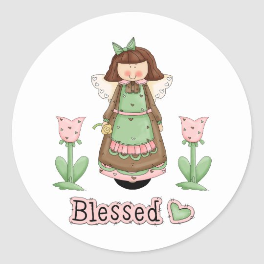 Blessed Angel 3 Classic Round Sticker