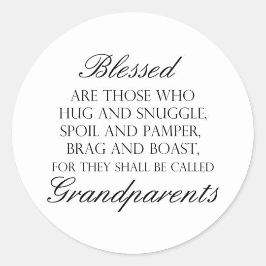 Blessed Are... Grandparents Classic Round Sticker