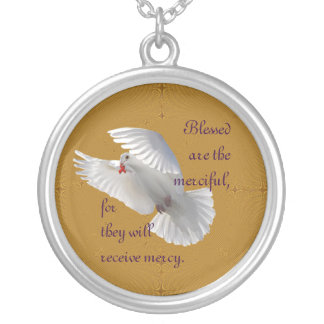 Blessed Are The Merciful Round Pendant Necklace