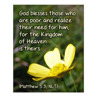 """Blessed Are the Poor Scripture Card 4.5"""" X 5.6"""" Flyer"""