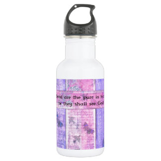 Blessed are the pure in heart BIBLE VERSE Stainless Steel Water Bottle