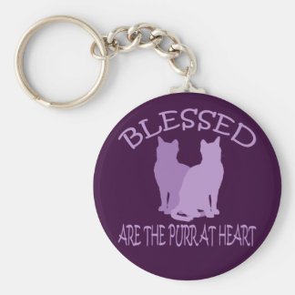 Blessed Are The Purr At Heart Key Chain