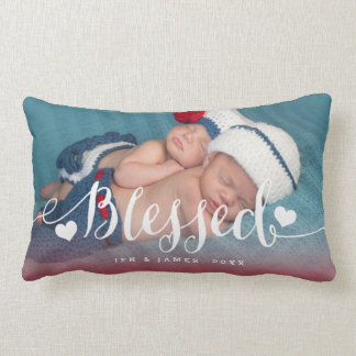 Blessed | Baby Birth Valentines Photo Pillow