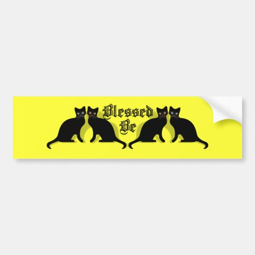 Blessed Be Black Cats Wicca Witch Bumper Sticker