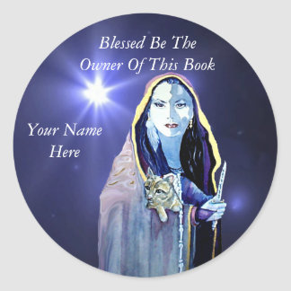 Blessed Be Book Plate Round Sticker
