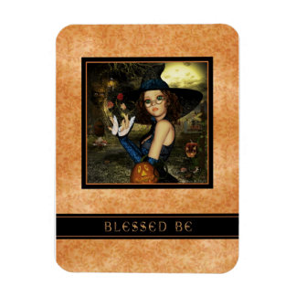 Blessed Be Cute Autumn Leaves Witch Flexi Magnet