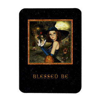 Blessed Be Cute Autumn Witch Flexi Magnet