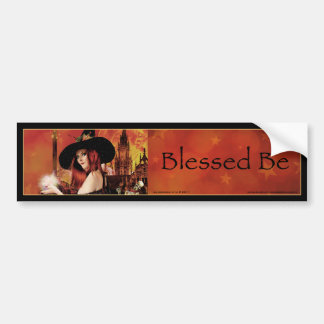 Blessed Be Magical Night Witch Bumper Sticker