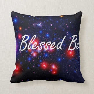 Blessed Be saying against dark space image Throw Pillow