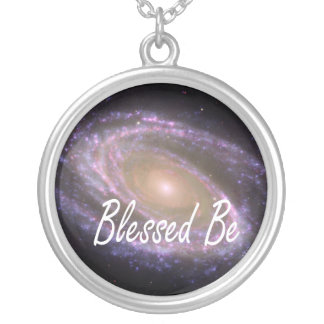 Blessed be saying against galaxy image round pendant necklace