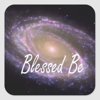 Blessed be saying against galaxy image square sticker