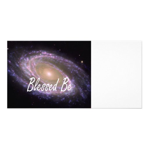 Blessed be saying against galaxy image photo card