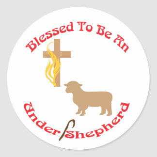 BLESSED BE UNDER SHEPHERD CIR LT CLASSIC ROUND STICKER
